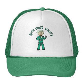 Light Female Surgeon in Green Scrubs Trucker Hats