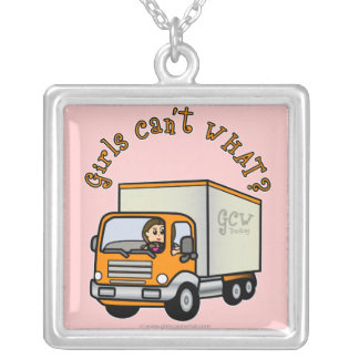 Light Female Truck Driver Silver Plated Necklace