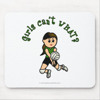 Light Female Volleyball Player in Green Uniform Mouse Pad