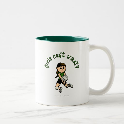 Light Female Volleyball Player in Green Uniform Coffee Mug