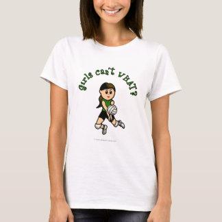 Light Female Volleyball Player in Green Uniform T-Shirt