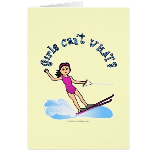 Light Female Water Skier Greeting Card