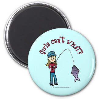 Light Fishing Girl 2 Inch Round Magnet