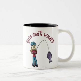 Light Fishing Girl Two-Tone Coffee Mug