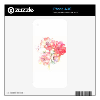 Light Floral Design Skin For The iPhone 4S