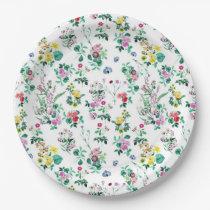 Light Floral Pattern Paper Plate
