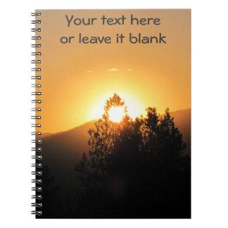 Light For Inspiration Bright Sunset through tree Notebook