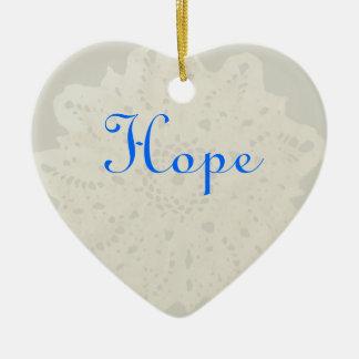 Light French Grey Beige Cream Hope Heart Ceramic Ornament