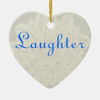 Light French Grey Beige Cream Laughter Heart Ceramic Ornament