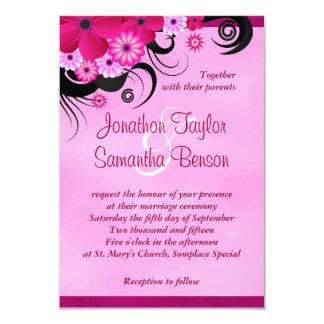 "Light Fuchsia Floral 3.5"" x 5"" Wedding Invites"