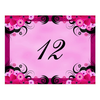 Light Fuchsia Floral Reception Table Number Cards