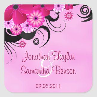 Light Fuchsia Floral Save The Date Favor Stickers