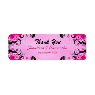 Light Fuchsia Floral Small Wedding Favor Labels