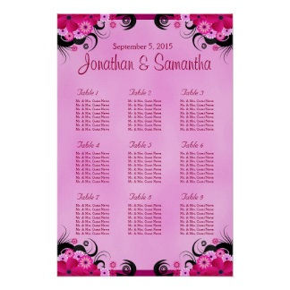 Light Fuchsia Floral Wedding 9 Table Seating Chart