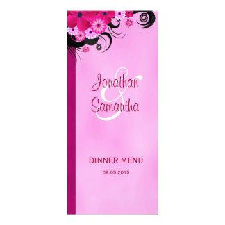 Light Fuchsia Floral Wedding Dinner Menu Cards