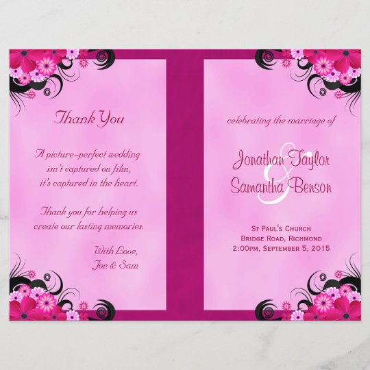Light Fuchsia Floral Wedding Program Templates Zazzlecom - Floral wedding program templates