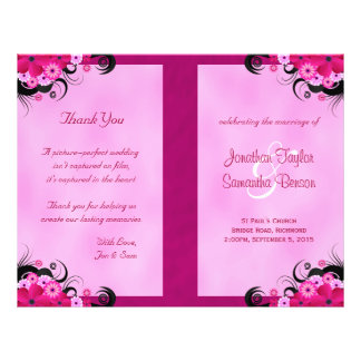 Light Fuchsia Floral Wedding Program Templates
