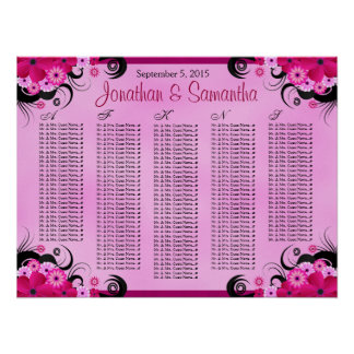 Light Fuchsia Floral Wedding Table Seating Charts