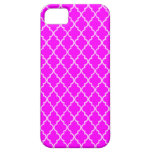 Light Fuchsia Magenta And White Moroccan Trellis iPhone 5 Covers