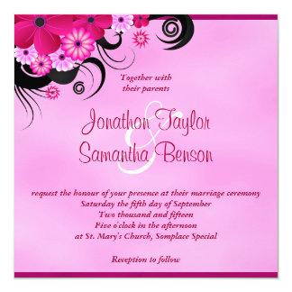 "Light Fuchsia Magenta Floral Wedding 5.25"" Invite"