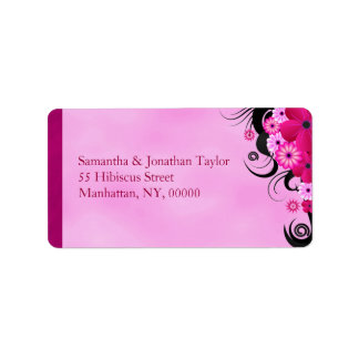 Light Fuchsia Magenta Floral Wedding Address Label
