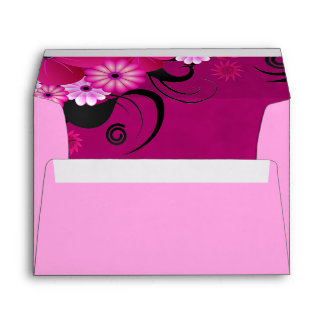 Light Fuchsia Magenta Floral Wedding Envelopes