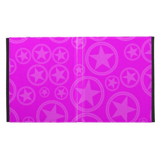 Light Fuchsia Stars in Circles on Fuchsia iPad Folio Case