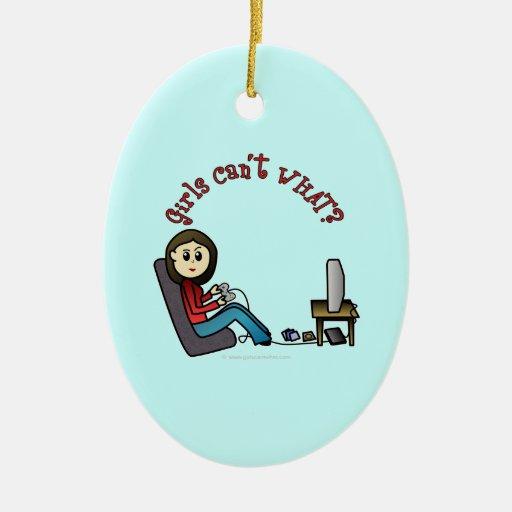 Light Gamer Girl Christmas Ornaments