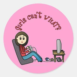 Light Gamer Girl Classic Round Sticker