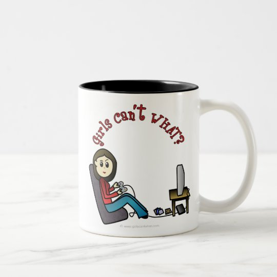 Light Gamer Girl Two-Tone Coffee Mug