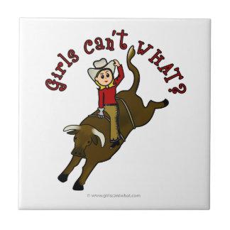 Light Girl Bull Rider Tile