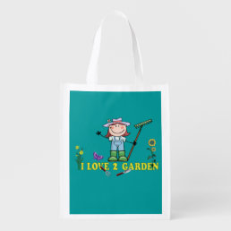 Light  Girl Farmer I Love 2 Garden Grocery Bag
