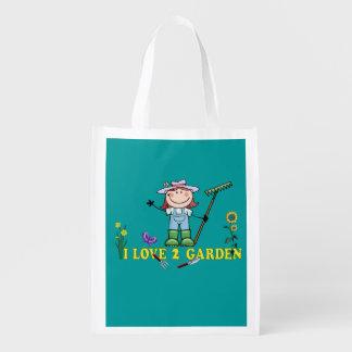 Light  Girl Farmer I Love 2 Garden Reusable Grocery Bag