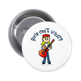 Light Girl Guitar Player Button