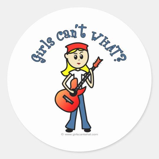 Light Girl Guitar Player Classic Round Sticker