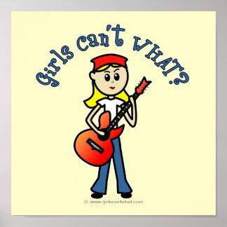 Light Girl Guitar Player Poster