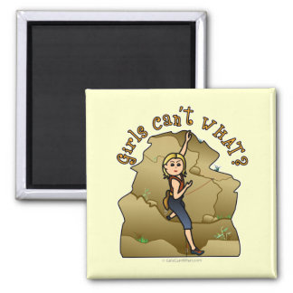 Light Girl Rock Climber 2 Inch Square Magnet