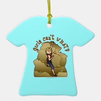 Light Girl Rock Climber Double-Sided T-Shirt Ceramic Christmas Ornament