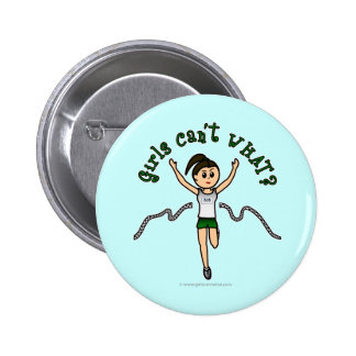 Light Girl Runner in Green Uniform Button