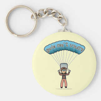 Light Girl Sky Diver Basic Round Button Keychain