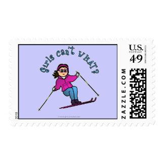 Light Girl Snow Skiing Stamp