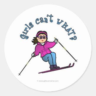 Light Girl Snow Skiing Round Stickers