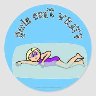 Light Girl Swimming Classic Round Sticker