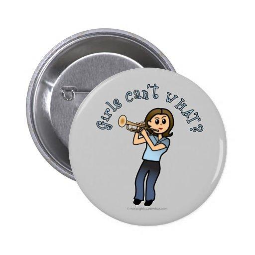 Light Girl Trumpet Player Pinback Button