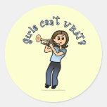 Light Girl Trumpet Player Classic Round Sticker