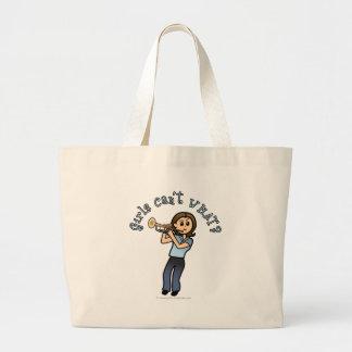 Light Girl Trumpet Player Large Tote Bag