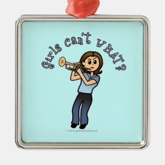 Light Girl Trumpet Player Metal Ornament
