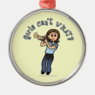Light Girl Trumpet Player Metal Ornament
