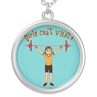 Light Girl Weightlifting Round Pendant Necklace