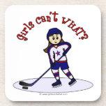 Light Girls Hockey Player Beverage Coaster